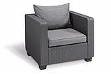 Комплект садових меблів зі штучного ротангу Salta 3-Seater Sofa Set  графіт (Allibert), фото 3