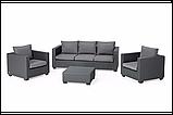 Комплект садових меблів зі штучного ротангу Salta 3-Seater Sofa Set  графіт (Allibert), фото 5