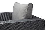 Комплект садових меблів зі штучного ротангу Salta 3-Seater Sofa Set  графіт (Allibert), фото 8