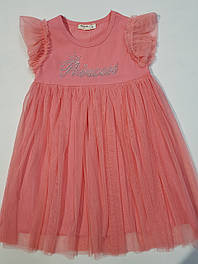 Нарядное платье для девочки кораллового цвета на возраст 4; 5;6;7;8 лет