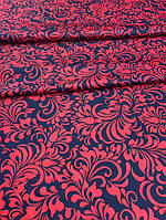 Одёжная  ткань французский трикотаж чёрная с красными цветами