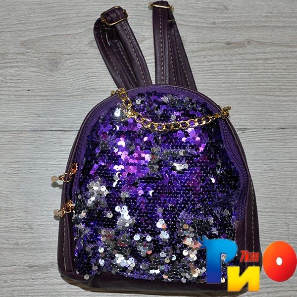 """Рюкзак для девочек """"Цепочка"""" размер 23 /18/10 см (мин.заказ-1 ед) Фиолетовый"""