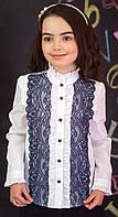 Блузка рубашка для девочки  белая с синим кружевом