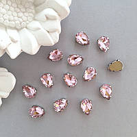 Стразы в цапах. Капли 10х14 мм. Цвет: Pale rose(Пудово-розовый)