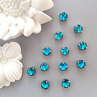 Кристаллы Риволи 10 мм в оправе. Цвет: Lake blue(Голубой)