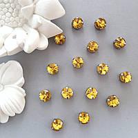 Кристаллы Риволи 10 мм в оправе. Цвет: Golden yellow(Желтое золото)