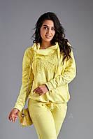 Стильный женский спортивный костюм из двунити с отделкой из гипюра и капюшоном 58-60, 62, 48-50, 52-54, 56