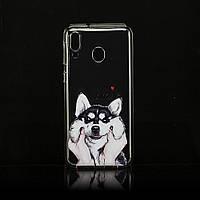 Чехол Print для Samsung Galaxy M20 силиконовый бампер Husky