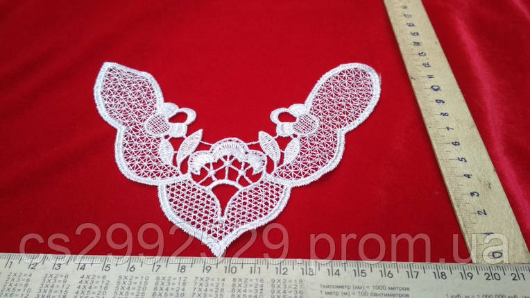 Вставка нашивка сетка кружевная. Вставка пришивная для пошива и декора. Цвет белый, фото 2