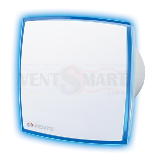 Фото декоративного вытяжного вентилятора ВЕНТС ЛД Лайт синий ― вентилятор имеет декоративную лицевую панель с подсветкой синего цвета.