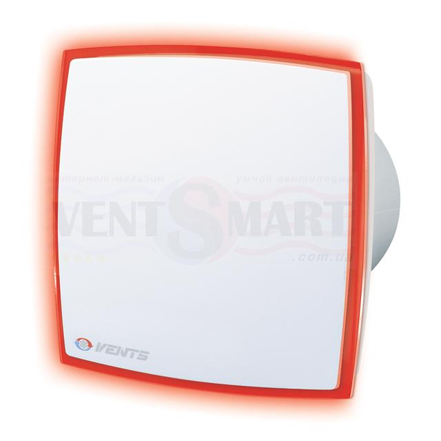 Фото дизайнерского вытяжного осевого вентилятора ВЕНТС ЛД Лайт красный ― вентилятор имеет декоративную лицевую панель с подсветкой красного цвета.