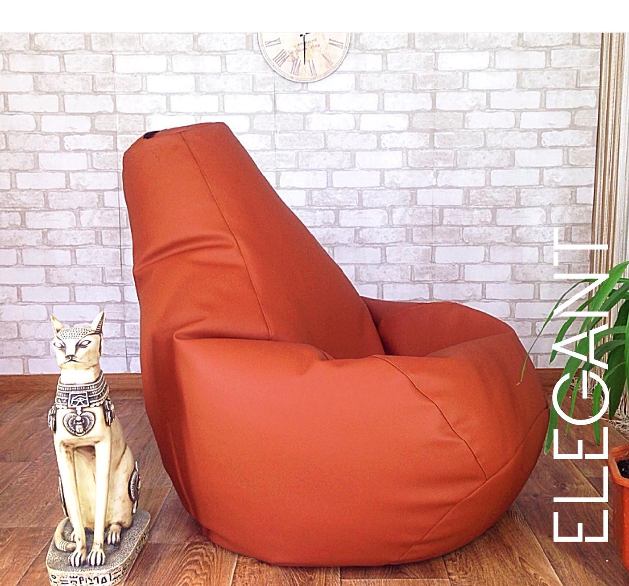 Кресло Мешок, бескаркасное кресло Груша ХХЛ, коричневый