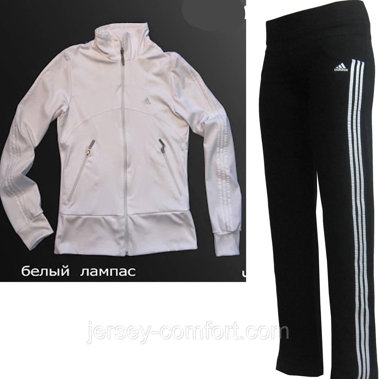 Костюм  спортивный эластан. Белая кофта, брюки черные, лампас белый.Мод. 165.