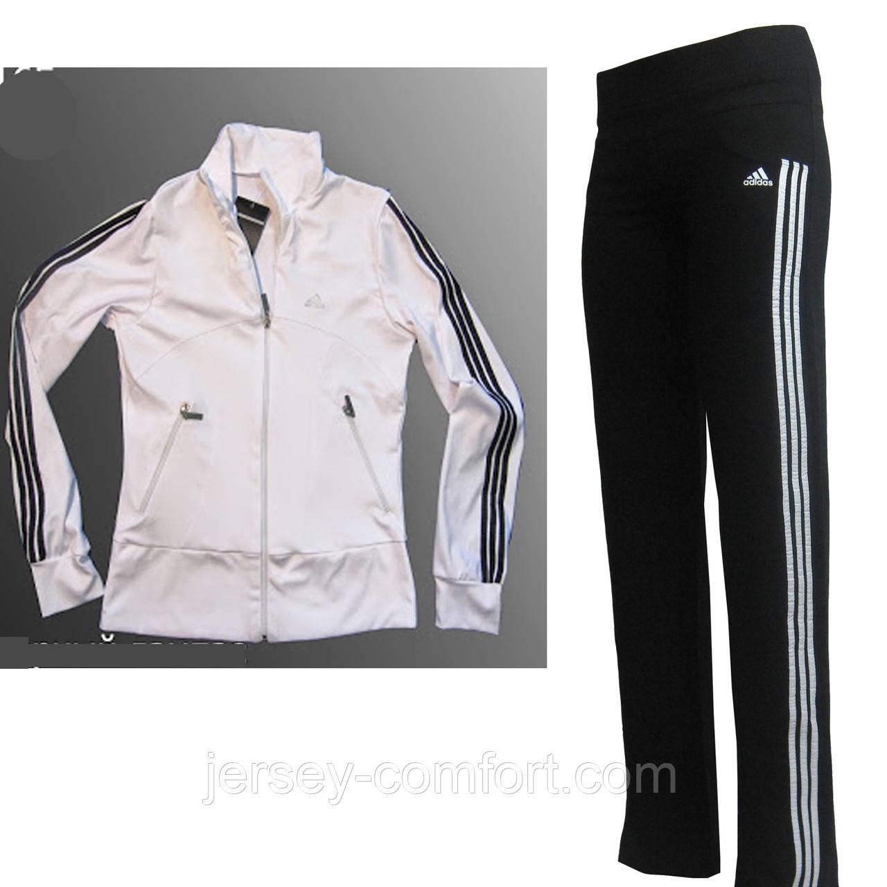 Костюм спортивный  эластан. Белая кофта, брюки черные, лампас белый. Мод. 165.