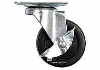 Колесо до візка поліпроп. Ø= 50 мм, b= 22 мм VOREL з обертов опорою і гальмо; h= 65мм, навант.- 25кг