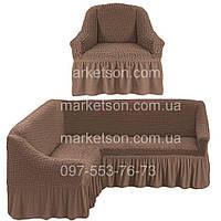 Универсальный натяжной чехол на угловой диван и кресло