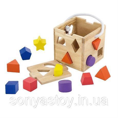 """Сортер """"Кубик"""", деревянный для изучения форм, 1+"""