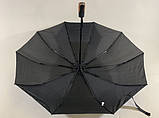 Мужской зонт полуавтомат на 10 спиц система антиветер цвет черный, фото 5