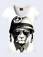Женская футболка ТИГР В ШЛЕМЕ