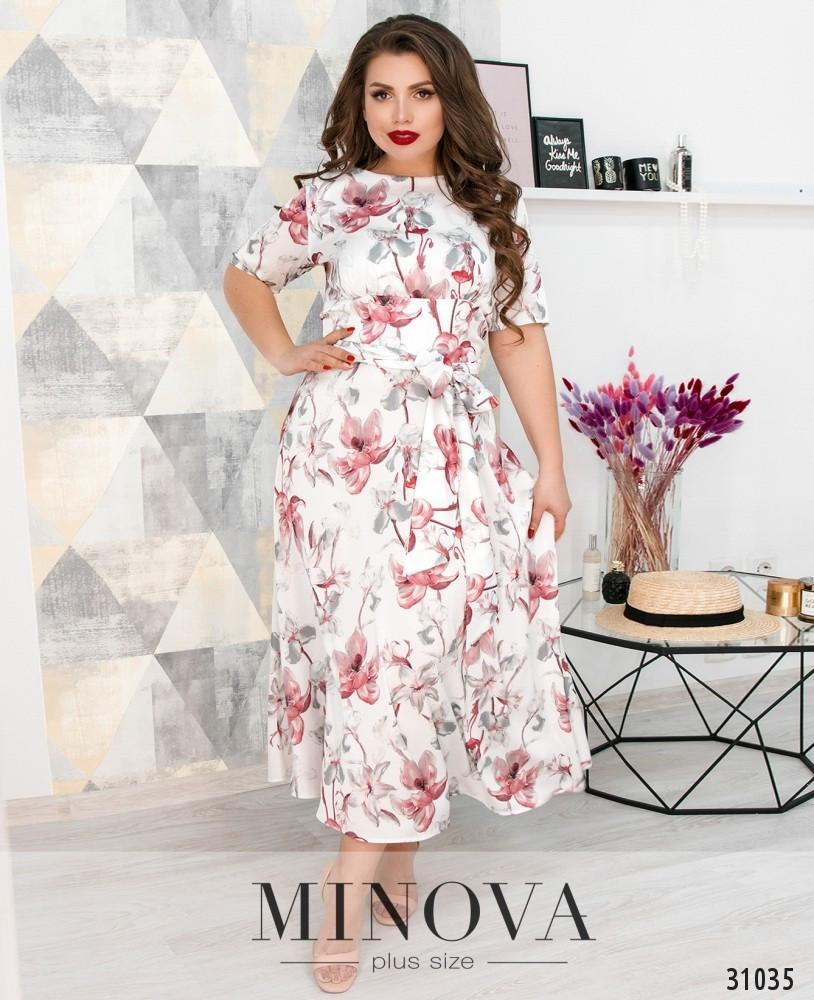 Нарядное платье-миди на запах с короткими рукавами и расклешенным подолом ТМ Minova батал р. 50-56