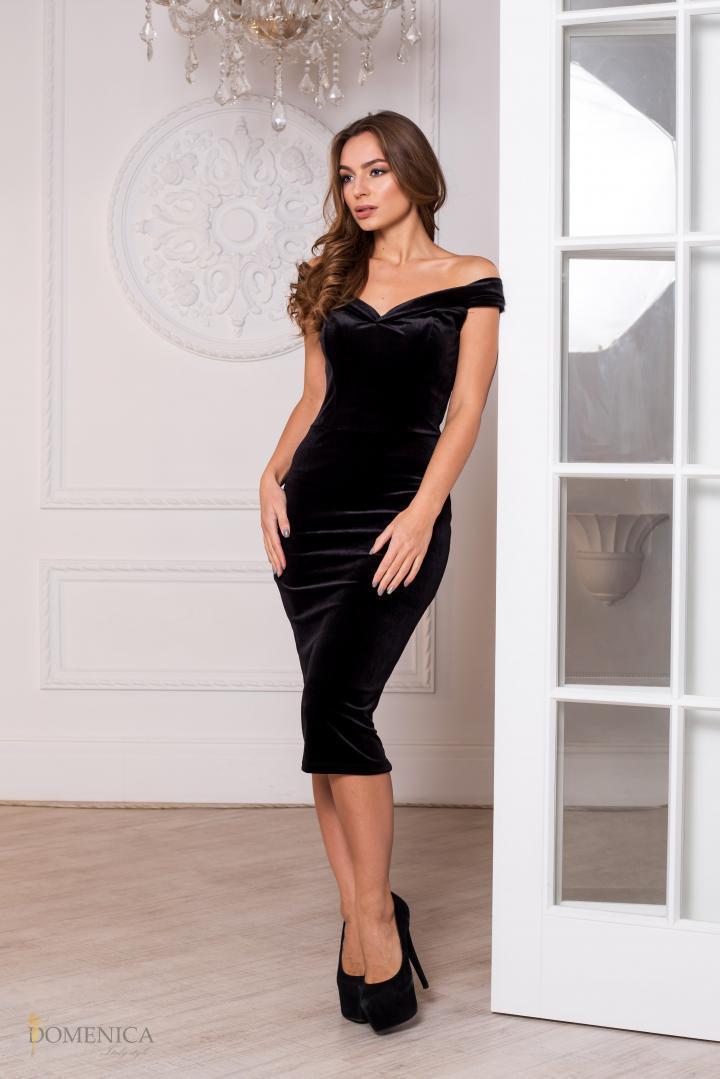 e2fbd78b56a6f1b Коктейльное бархатное платье-миди Р 1989 #O/V, цена 788,75 грн ...