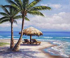 Алмазная мозаика Райский остров DM-210 50x40см Полная зашивка. Набор алмазной вышивки