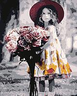 Картина по номерам Девочка с букетом (Фотограф Ким Андерсон), 40x50 см., Домашнее искусство