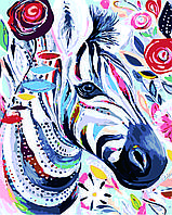 Картина по номерам Яркая зебра 40x50 см. ДИ