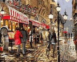 Картина по номерам Вечернее кафе. Худ. Ричард Макнейл 40x50 см. Babylon