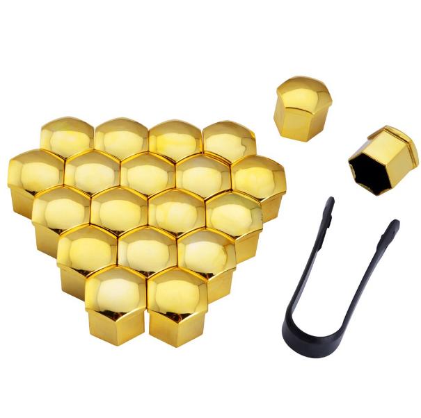 Защитные колпачки на колесные гайки 17 мм золото