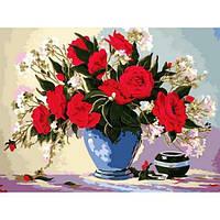 Картина по номерам Букет роз в голубой вазе, 30x40 см., Babylon