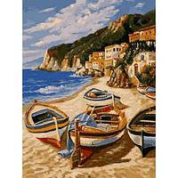 Картина по номерам Лодки на песке 30x40 см. Babylon