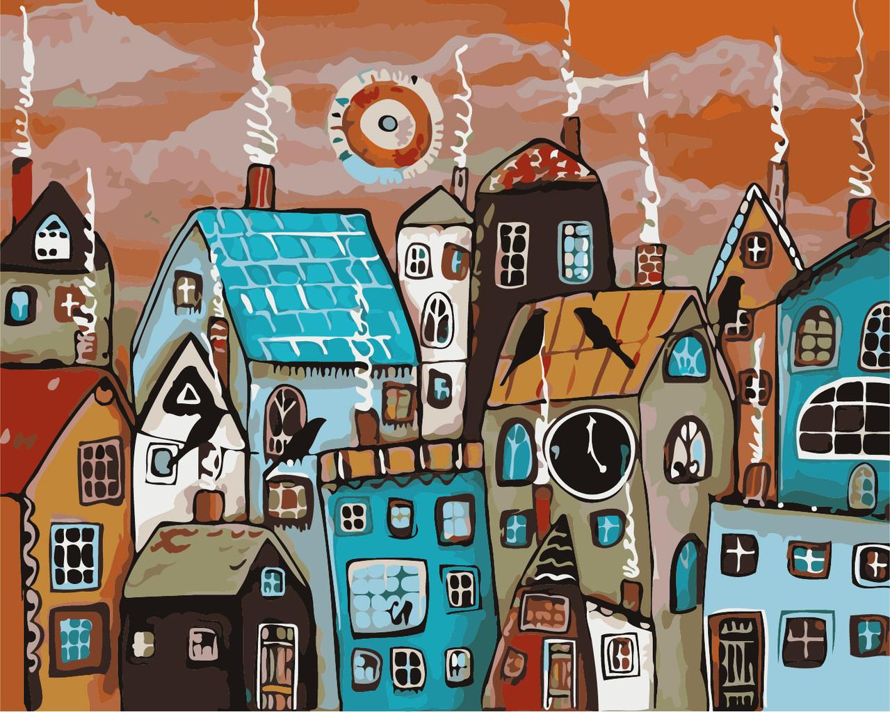 Картина за номерами в коробці Казкове містечко AS0364 40*50см. Artstory Фентези. Города.