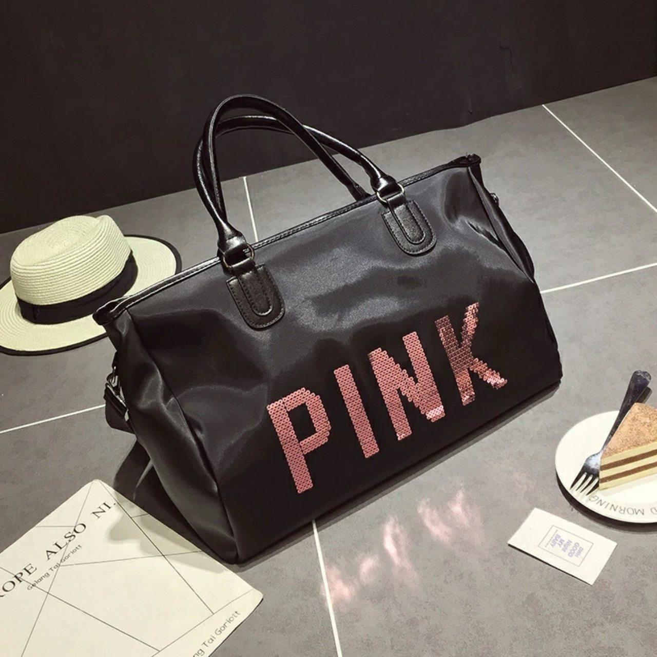 Большая женская сумка Victoria`s Secret с пайетками Pink черная