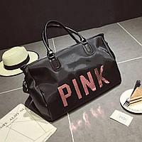 Большая женская сумка Victoria`s Secret с пайетками Pink черная, фото 1