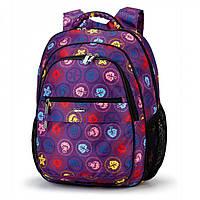 Рюкзак Школьный ортопедический фиолетовый стильный Dolly 532 для девочки в листьях 30х39х21 см, фото 1