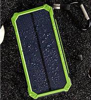 Акумулятор вологостійкий Power bank TL-10WPD Tollcuudda 10000 mAh з сонячною панеллю, ліхтарем, зелений, фото 1