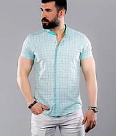 6ad015e1f0e Летняя льняная мужская рубашка светло-бирюзового цвета с воротником-стойкой