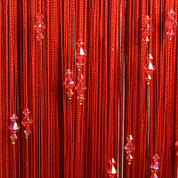 Нитяные шторы с тройным стеклярусом  красная № 17