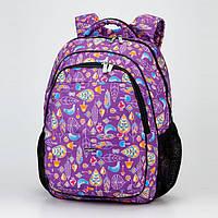 """Школьный ортопедический рюкзак сиреневый для девочки Dolly 534 рисунок """"Листья"""" 30х39х21 см, фото 1"""