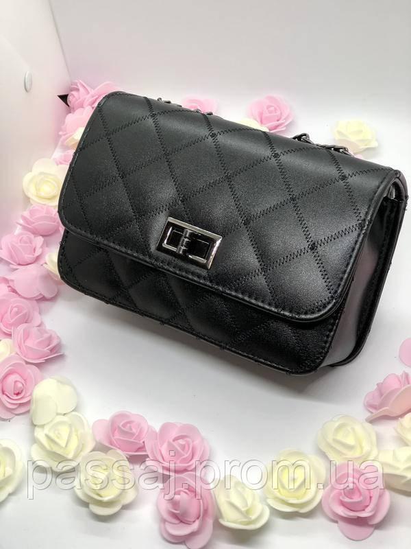 Черная новая сумка на серо-черной цепи