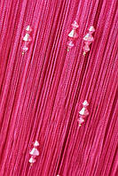 Нитяные шторы с тройным стеклярусом  малиновая (20)