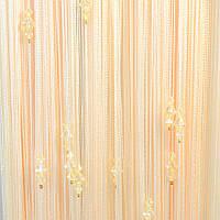 Нитяные шторы с тройным стеклярусом молочный №203
