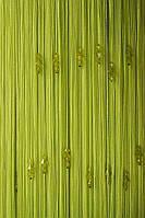 Нитяные шторы с тройным стеклярусом ярко салатовая № 206