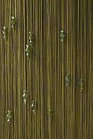 Нитяные шторы с тройным стеклярусом хаки № 210