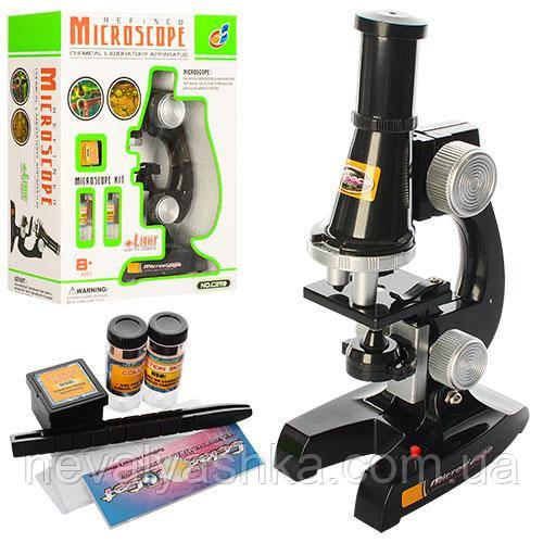 Микроскоп 21 см пробирки баночки стеклышко свет, на бат., C2119 007705
