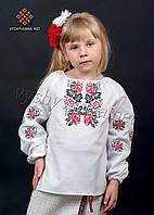 """Вишиванка біла для дівчинки """"троянди"""", арт. 0188"""
