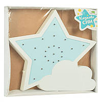 Ночник деревянный Звезда (Голубая) MD 2076
