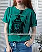 Футболка с принтом depressed бирюзовая зеленая с надписью хлопковая оверсайз свободная аквамарин, фото 5