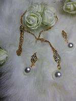Нежный жемчужный набор: серьги + подвеска золотистый